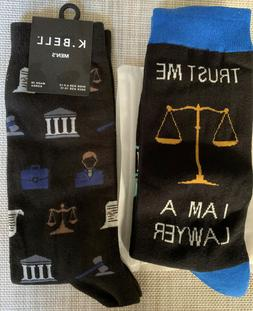 1 New Pair Lawyer Attorney Judge Men's Socks Legal Scales No