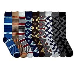 10~13 Men Dress Sock Knocker Design Crew Pattern Stripe Dot