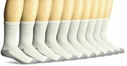 10 Men's Fruit of the Loom Cotton Crew Socks White Heavy Dut