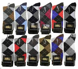 12 Pairs/1 Dozen Men Argyle Diamond Dress Socks Multi Color
