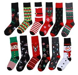 12 Pairs Unisex Premium Cotton Christmas Pattern Dress Socks