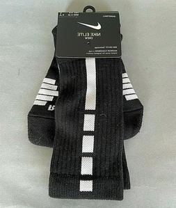 $14 NIKE ELITE DRI-FIT BASKETBALL CREW SOCKS black white cus