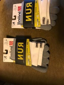 2 Injinji Men's Run Socks XL Grey/White Mini Crew Midweight