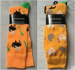 2 Pair Crew Socks Men's Shoe Size 6-12 Gift Chicken Waffles