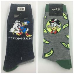 2 Pair Disney Scrooge McDuck Socks Men's Shoe Size 6.5-12, M
