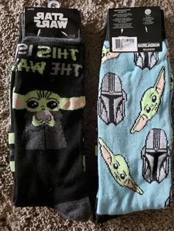 2 Pair Star Wars Crew Socks Adult Shoe 6-12 Mandalorian & Ba