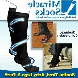 2 Pairs Men & Women Anti Fatigue Miracle Socks Firm Black Co