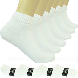 3-12 Pairs Ankle Quarter Crew Mens Sports Socks White 2 Tone