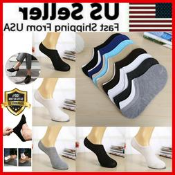 3-12 Pairs Men Invisible Socks No Show Nonslip Loafer Low Cu