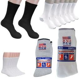 3-12 Pairs Men's White Solid Sports Crew Socks Cotton USA Lo