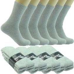 3 6 12 Pairs Mens Gray Sports Athletic Work Crew Cotton Sock