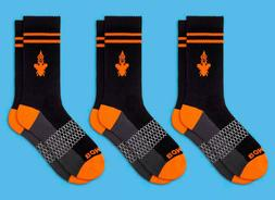 3-Pack Calf BOMBAS Men's Socks Size Men's Medium Black/Ora