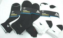 6 PAIRS ADIDAS Men Cushion QUARTER Socks BLACK WHITE LARGE 6