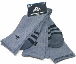 3 Pair Adidas Cushioned Crew Socks Gray, Black, Men's Shoe S
