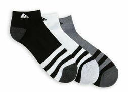 3 Pair Adidas Low Cut Socks, Men's Shoe 6-12 Gray, White, Bl