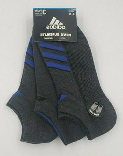 3 Pair Adidas No Show Superlite Socks, Men's Shoe Size 6-12,