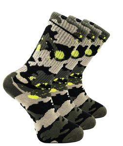 3 Pairs Mens Crew Socks Camouflaged Cushioned Cotton Sport S