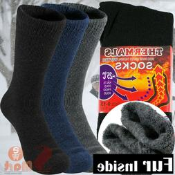 3 Pairs Mens Heavy Duty Thermal Boot Socks Winter Warm Heate