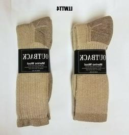 4 Pair Tan Heather Acrylic - MERINO Wool Blend Socks Men's M