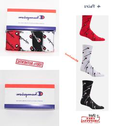 4 pairs champion all over print crew socks for men women red