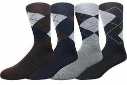 4 Pairs Men's Argyle Diamond Pattern Dress Socks Cotton Blen