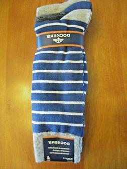4 pairs Dockers Men's Dress Socks, Large 6-12, Blue Stripes