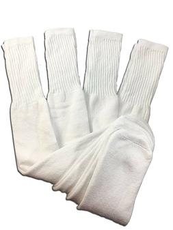 4 Pairs Mens White Tube Socks Big and Tall Extra Long Thick