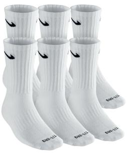 $49 NIKE DRI-FIT Men`s 6-PAIR PACK Athletic CREW SOCKS White