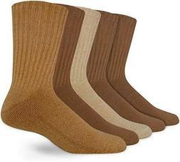 Dockers 5 Pack Cushion Comfort Sport Crew Socks Khaki 10-13