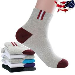 5 Pairs 100% Cotton Men's Sport Casual Socks Outdoor Hiking