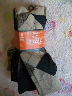 5 Pairs MEN'S DOCKERS CLASSICS DRESS SOCKS -Super Soft -BEIG