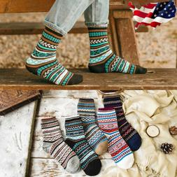 5 Pairs Men Wool Cashmere Thick Warm Soft Solid Casual Sport