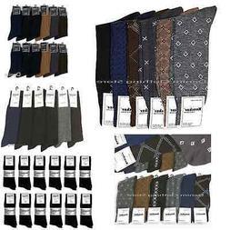 6~12 Pairs KNOCKER Men's Dress Socks Fashion Solid Multi Col