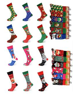 6 12 Pairs Men's Ladies Festive Christmas Design Novelty Soc
