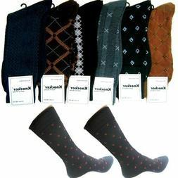 6 Pairs Mens Dress Socks Assorted Business Casual Print Work