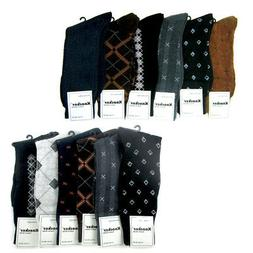 6 Pairs Mens Dress Socks Multi Color Print Casual Work Size