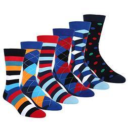 6 Pack Colorful Fancy Argyle Dress Crew Sock, Classic Cotton