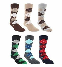 Zmart 6 Pack Men's Argyle Casual Socks, Classic Colorful Ass