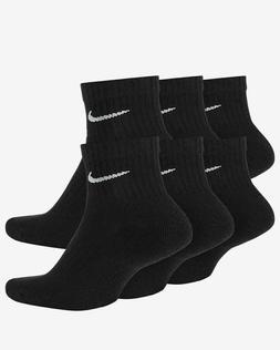 6 Pack Nike Black DRI FIT Quarter COTTON Socks SX7669 MEDIUM