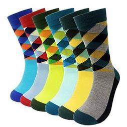 HSELL 6 Packs Men Colorful Dress Socks Warm Funny Color Argy