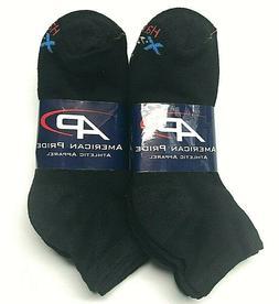 6 Pair Men Hanes X-Temp Black Cotton Stretch Athletic Ankle