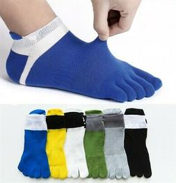 6 Pairs Men Combed Cotton Five Finger Toe Socks Sports Ankle
