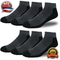 6 Pairs Men's Cushioned Running Socks Ankle Cut Athletic Com