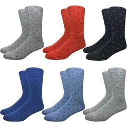 6 Pairs Men's Polka Dot Dress Socks in Assorted Colors Lot