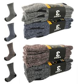 6 Pairs Men Winter Warm Thermal Crew Thick Socks Heavy Duty