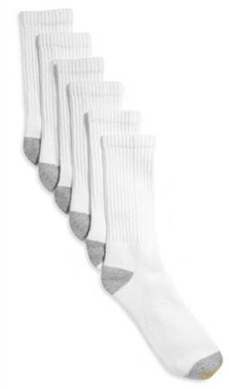 $62 Gold Toe Mens 6 Pairs Pack Athletic Cotton Crew Socks Wh