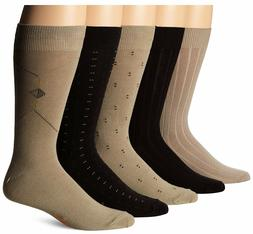 Dockers Men's 5 Pack Classics Dress Crew Socks, Khaki  & Gre