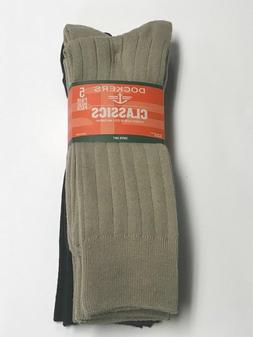 Dockers Men's 5 Pack Classics Ribbed  Dress Crew Socks, Khak