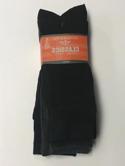 Dockers Men's 5 Pack Classics Ribbed Dress Crew Socks, Navy