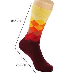 HSELL 6 Packs Men Color Dress Socks Funny Colorful Rainbow A